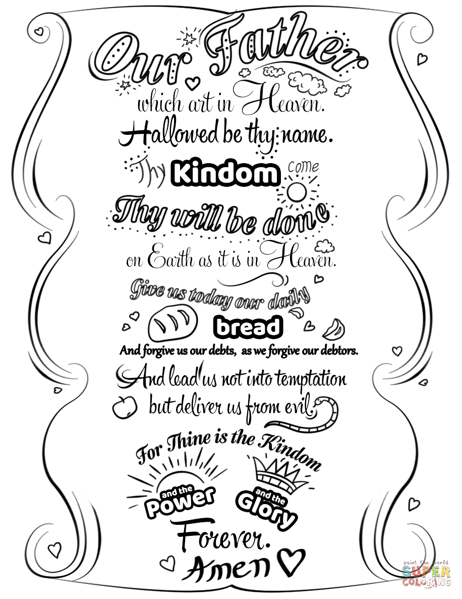 Lord's Prayer Doodle Coloring Page | Free Printable Coloring Pages - Free Printable Lord's Prayer Coloring Pages