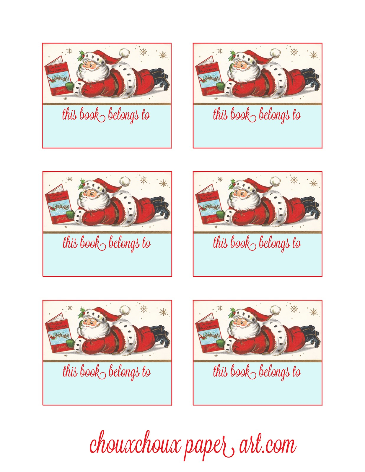 Lori Hairston: Santa Book Plates - Free Printable Christmas Bookplates