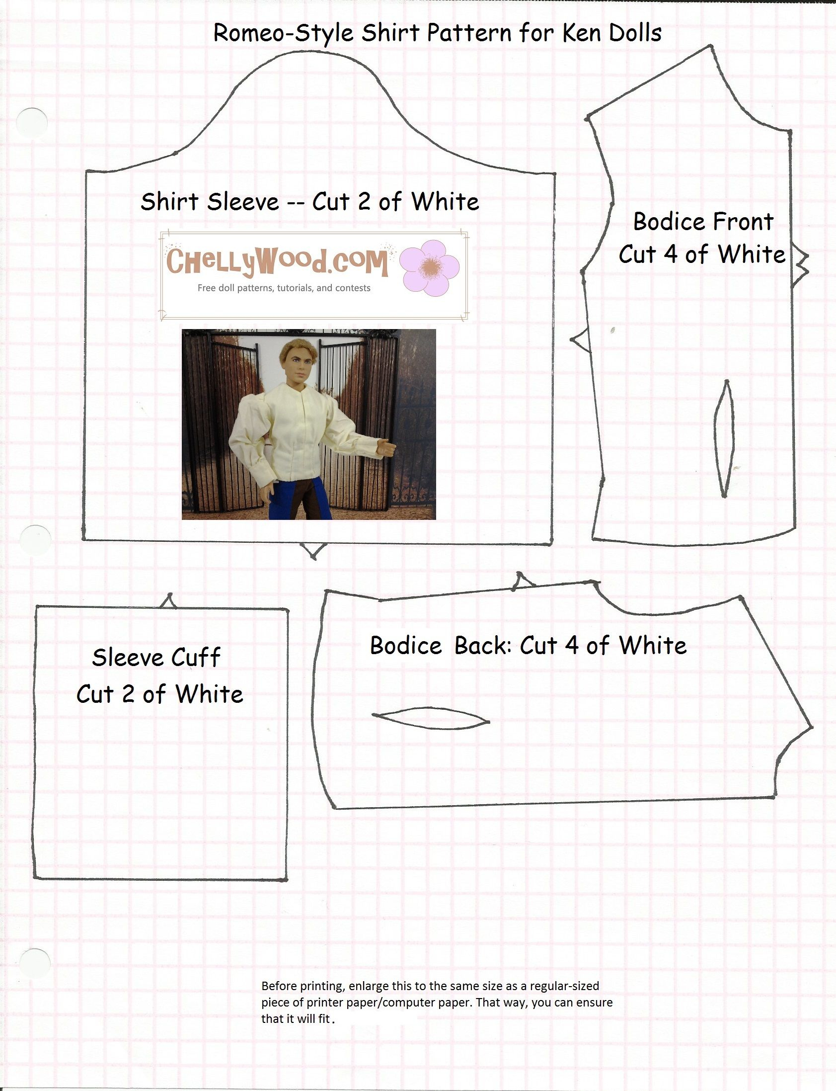 Lots Of Free Printable Patterns Like This One At Chellywood - Ken Clothes Patterns Free Printable