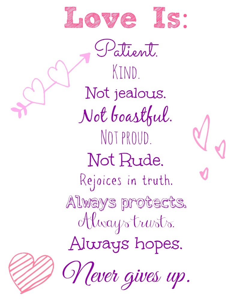 Love Is..valentine's Day Free Printable! - Nessa Makes - Love Is Patient Free Printable