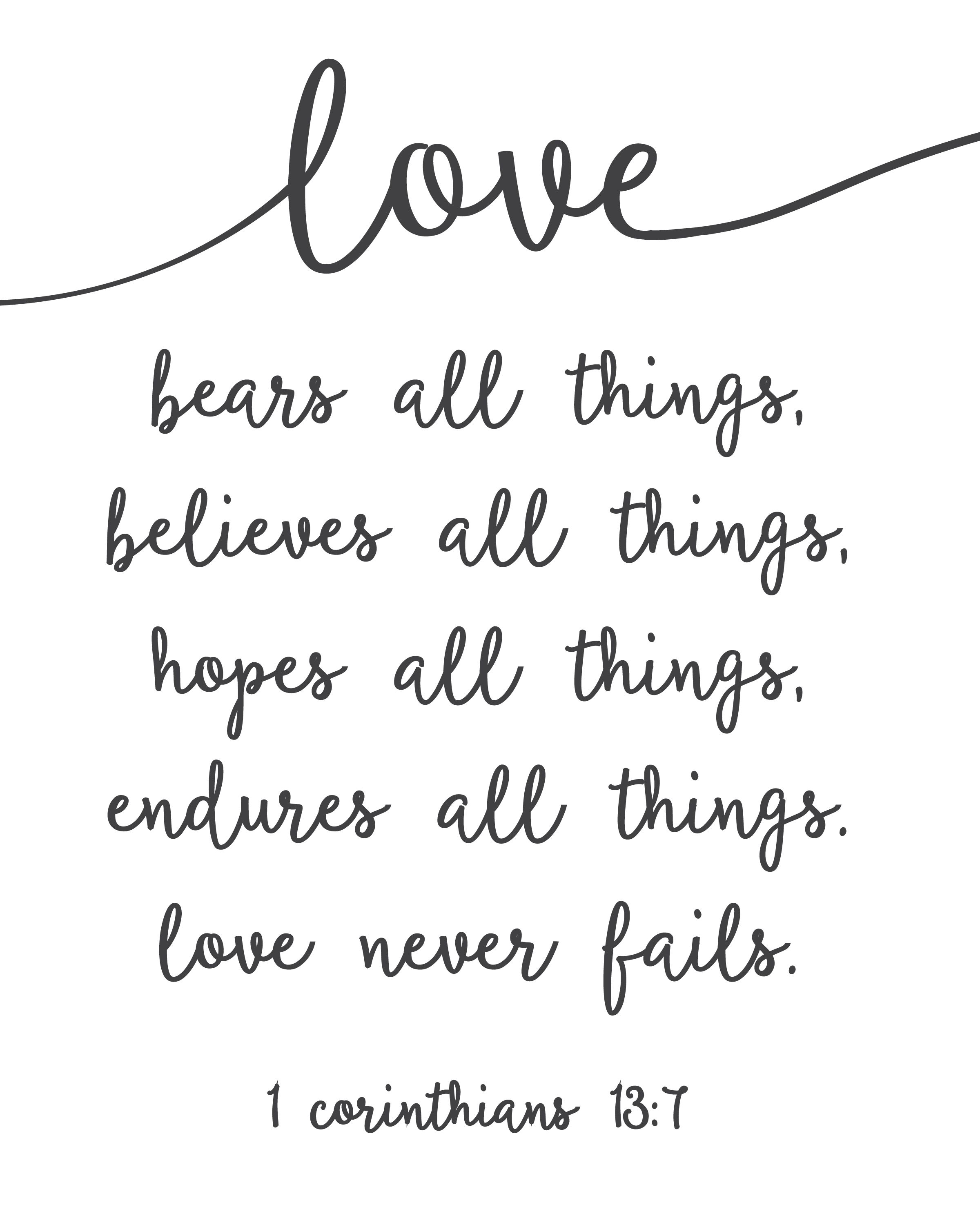 Love Never Fails - Free Printable | Free Printables | Wedding Quotes - Love Is Patient Free Printable