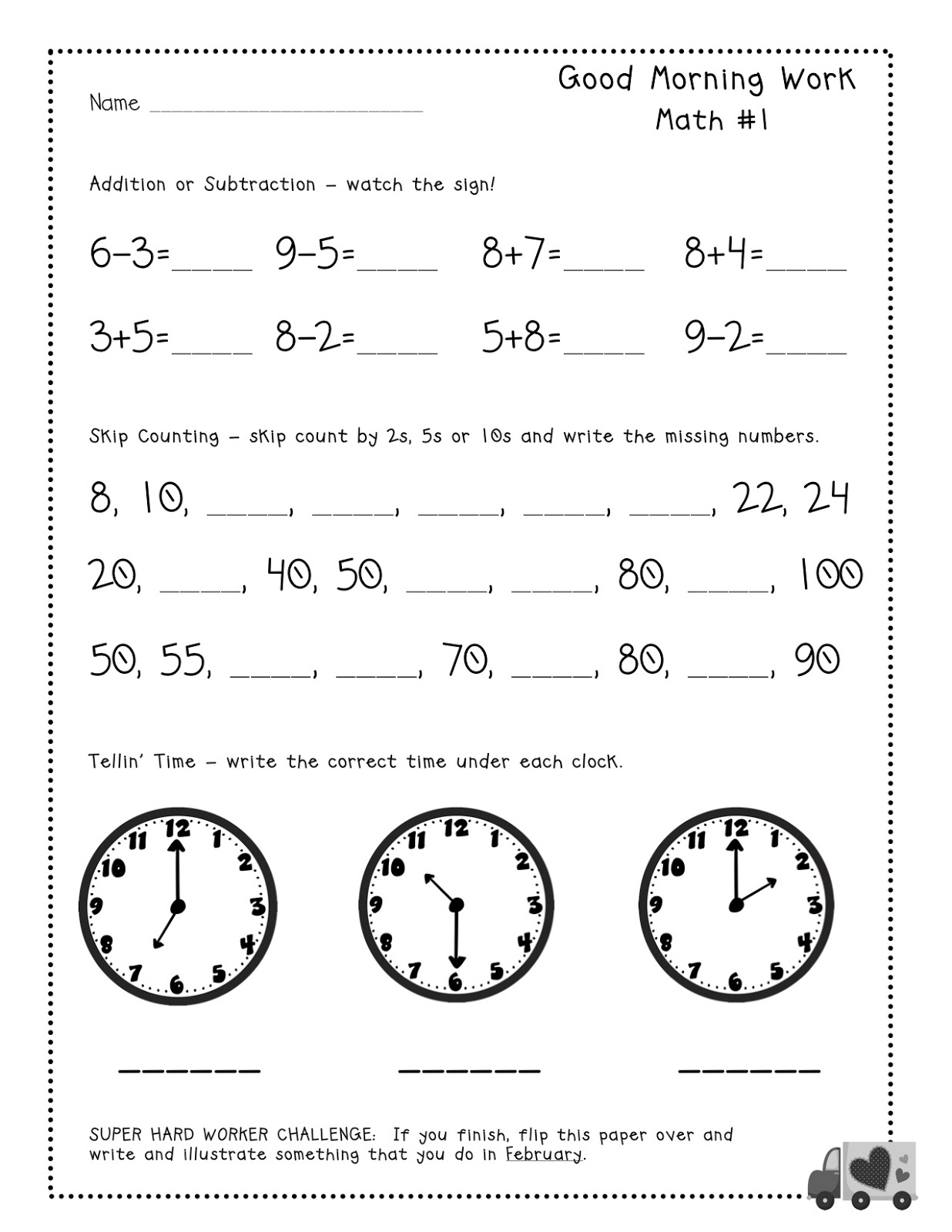 Lovely Free First Grade Morning Work | Fun Worksheet - Free Printable 4Th Grade Morning Work