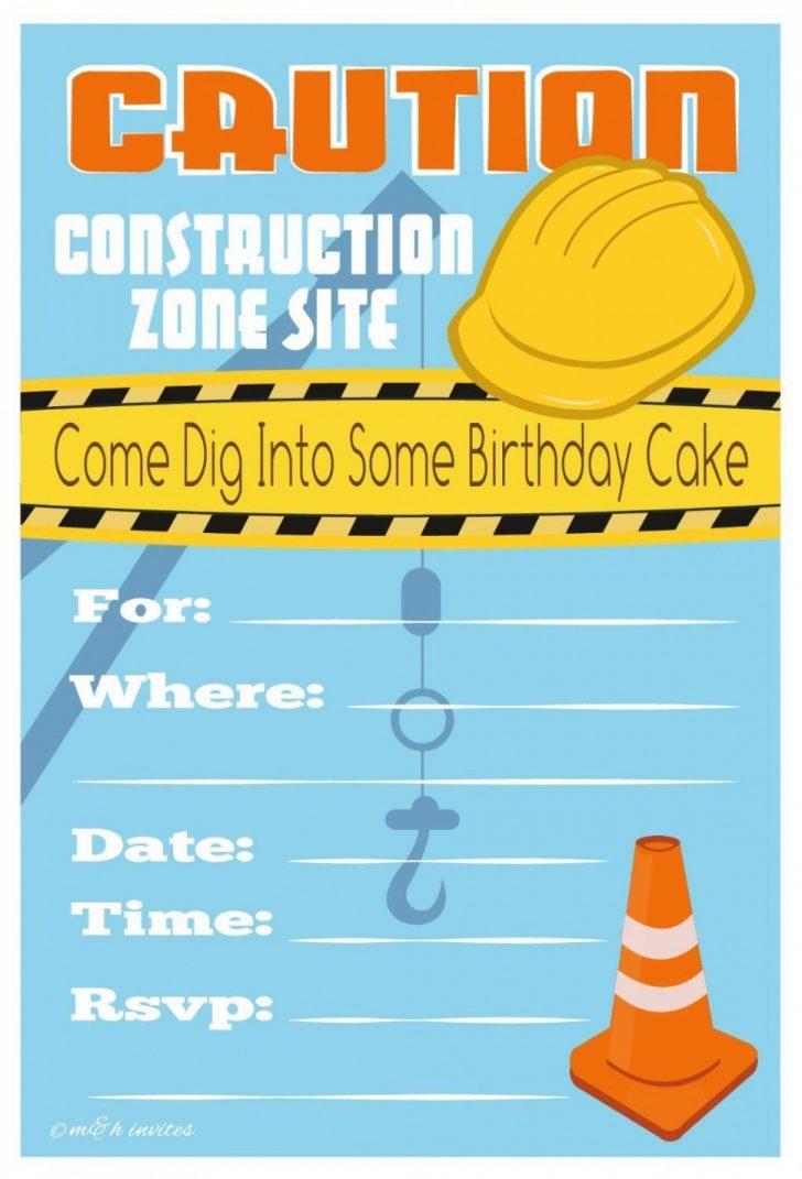 Free Printable Construction Birthday Invitation Templates