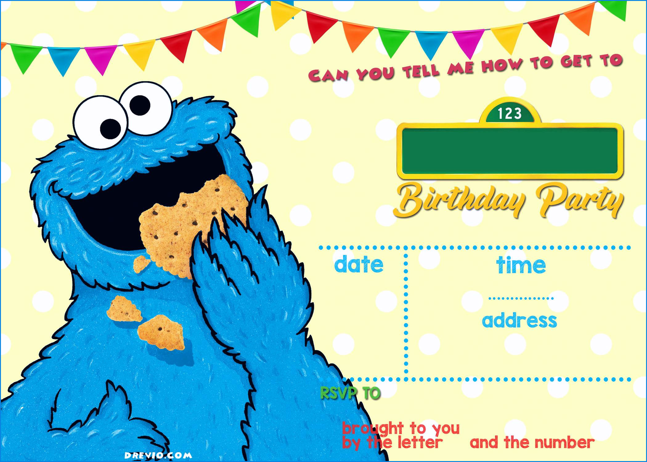 Luxury Cookie Monster Invitations – Sarokapro - Free Printable Cookie Monster Birthday Invitations