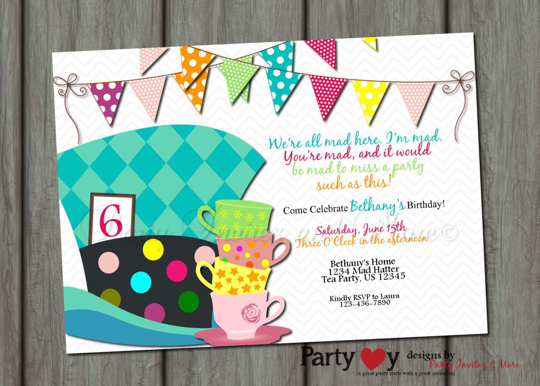 Mad Hatter Birthday Invitation, Birthday Invitation, Bright Birthday - Mad Hatter Tea Party Invitations Free Printable