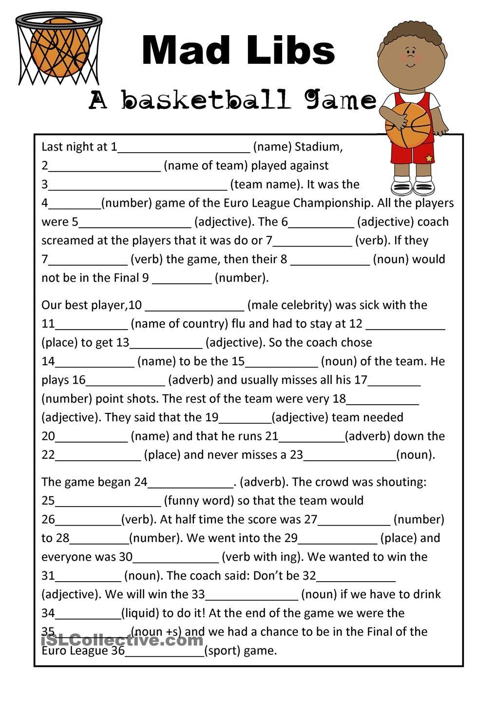 Mad Libs Basketball Game | Teaching Esl | Mad Libs, Free Mad Libs - Free Printable Mad Libs For Middle School Students