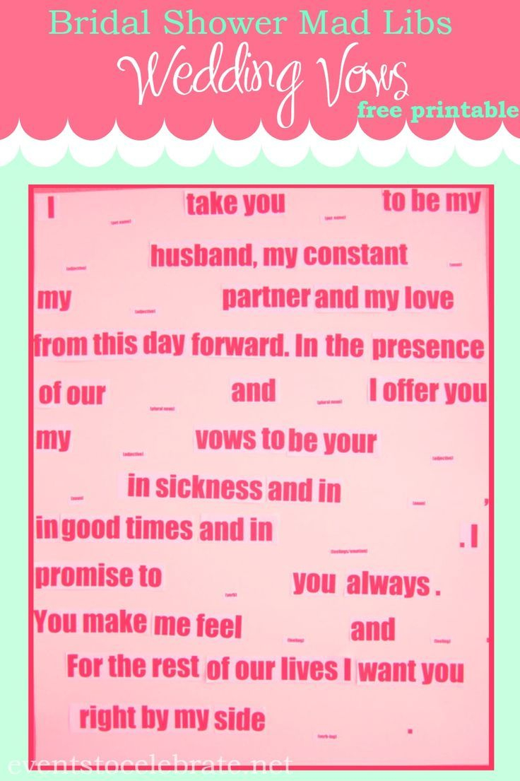 Mad Libs Wedding Vows | Pinterest | Wedding Vows, Bridal Showers And - Free Printable Wedding Mad Libs