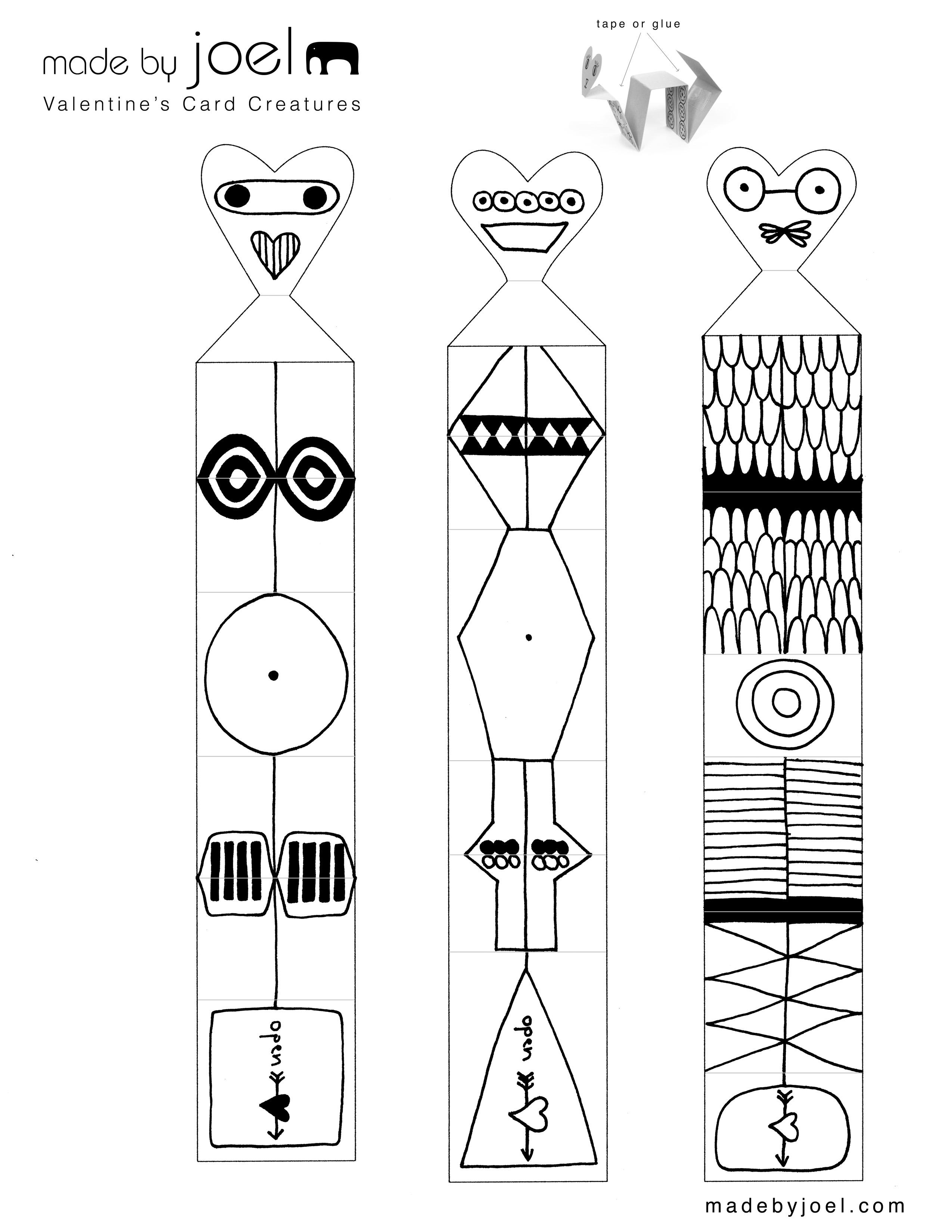Madejoel » Valentine's Card Creatures | Kids Craft Printable - Free Printable Valentine's Day Stencils