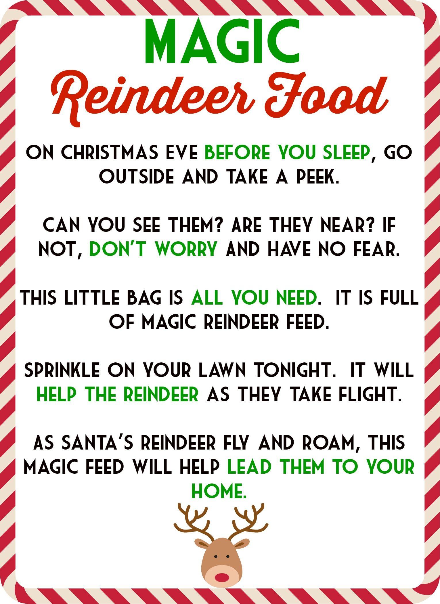 Magic Reindeer Food Poem & Free Printable   1St Grade   Pinterest - Reindeer Food Poem Free Printable
