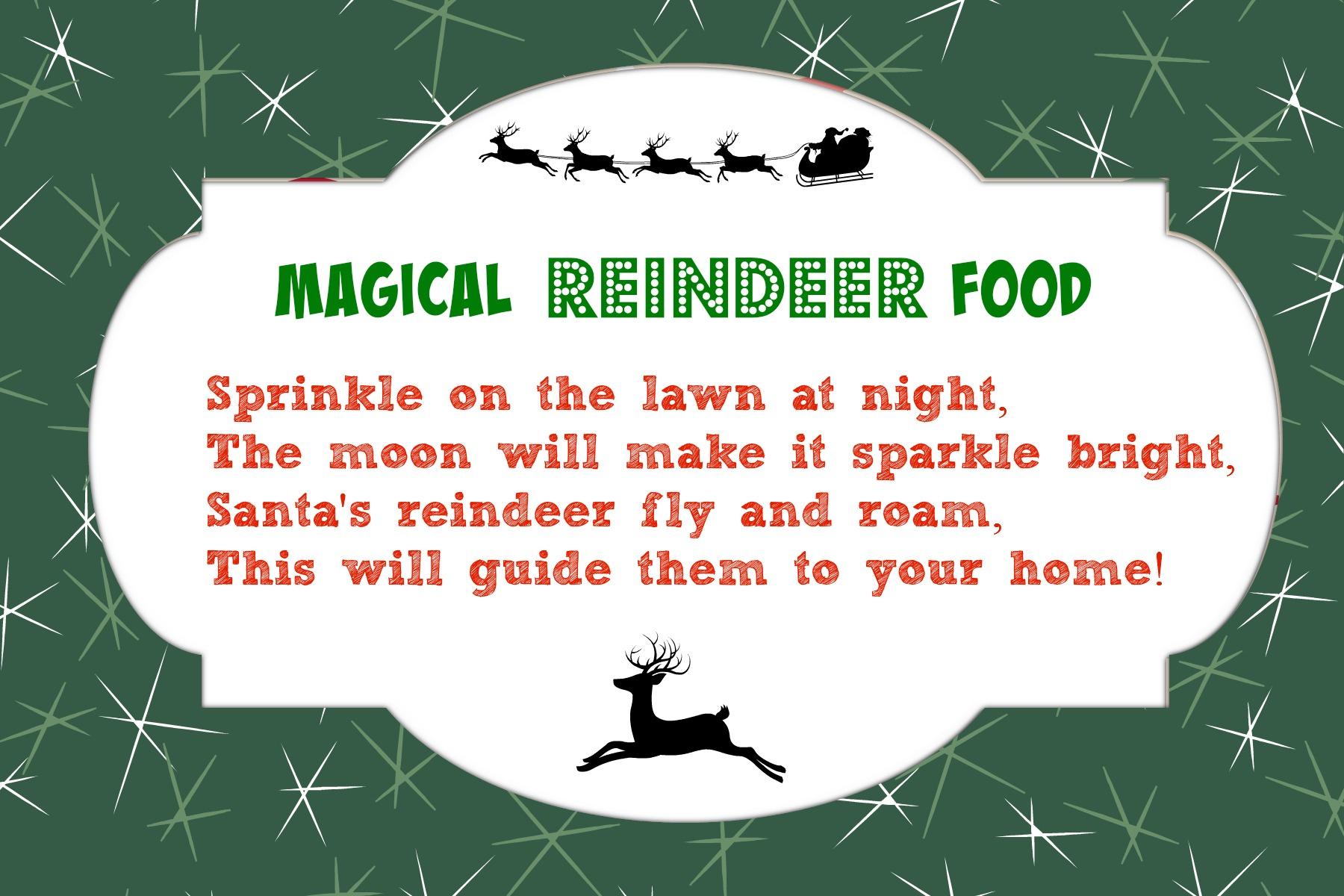 Magical Reindeer Food Recipe + Free Printable Poem Tag   Mama Cheaps - Reindeer Food Poem Free Printable