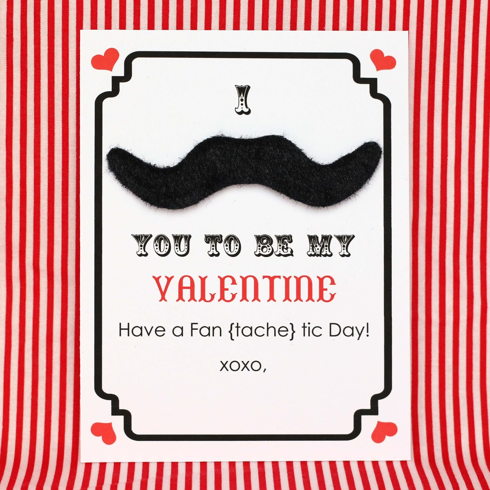 Make // Mustache Valentine's Day Cards - Free Printable - Free Printable Mustache