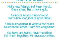 picture about Make New Friends Song Printable referred to as Create Clean Buddies Female Scout Track Lyric Printables - Aid
