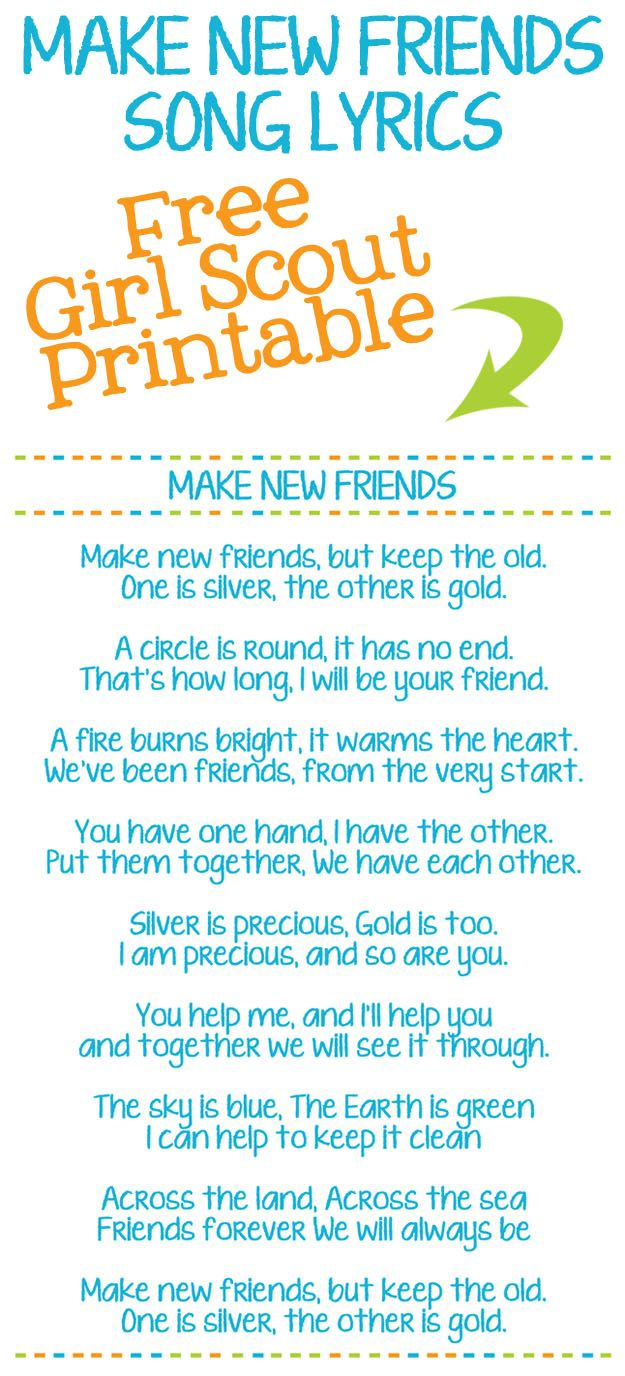 Make New Friends Girl Scout Song Lyric Printables - Help Your Girl - Free Printable Song Lyrics