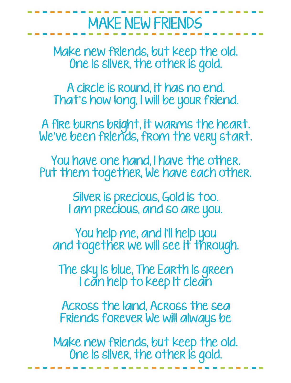 Make New Friends Printable Girl Scout Song Lyrics - Free Printable Song Lyrics