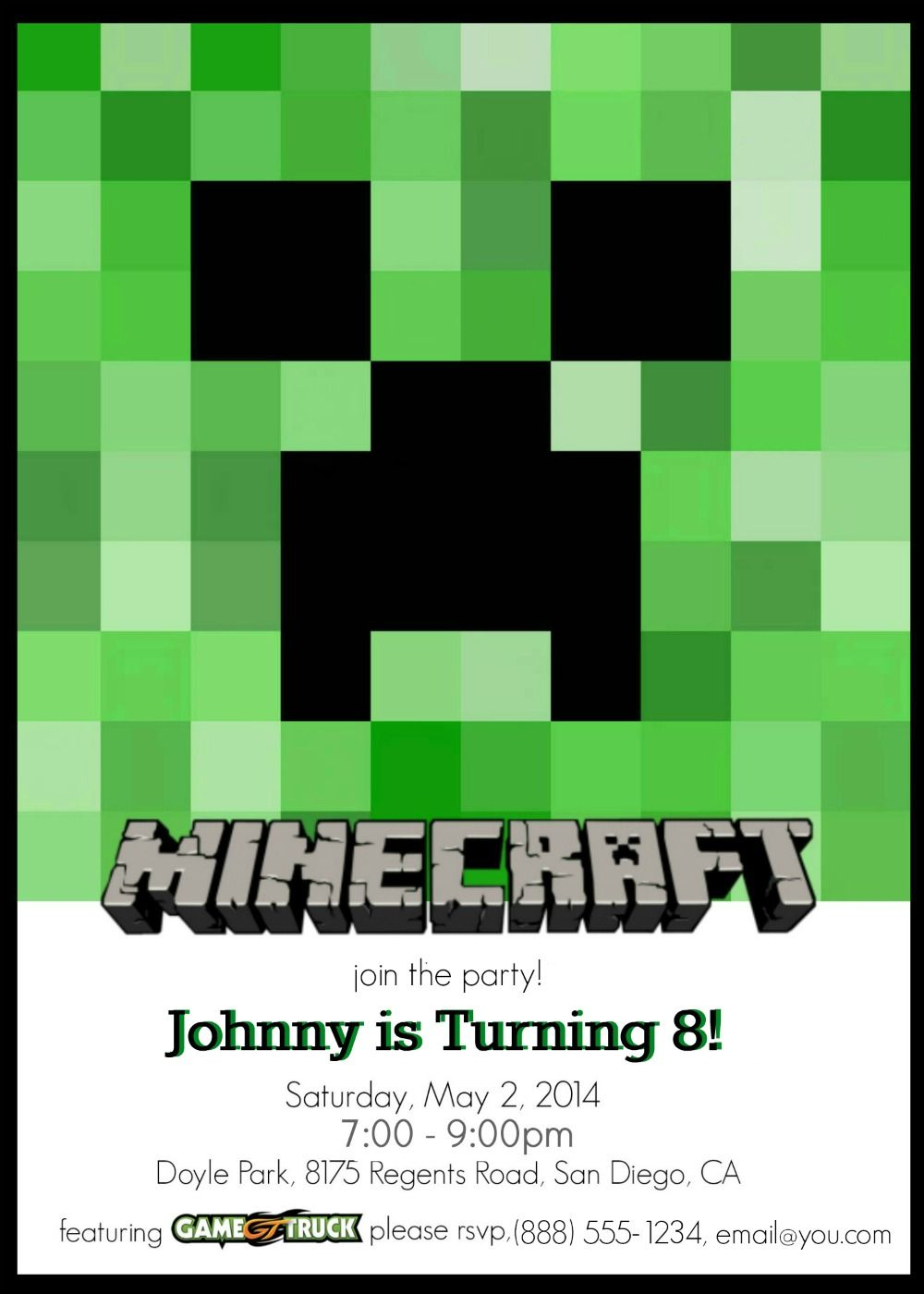 Make Your Own Custom Printable Minecraft Party Invitations | Nerd It - Free Printable Minecraft Invitations