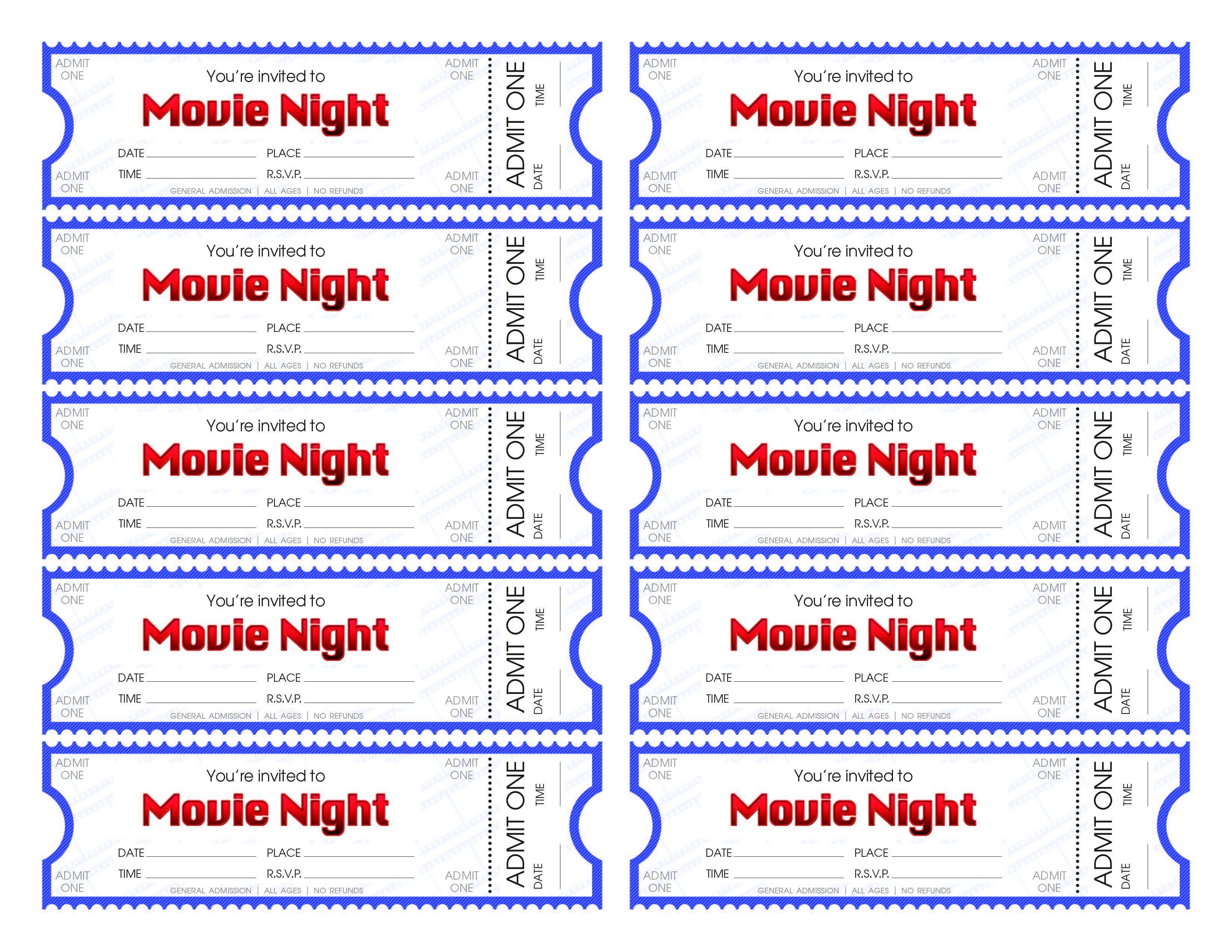 Make Your Own Movie Night Tickets – Sheknows - Free Printable Movie Tickets