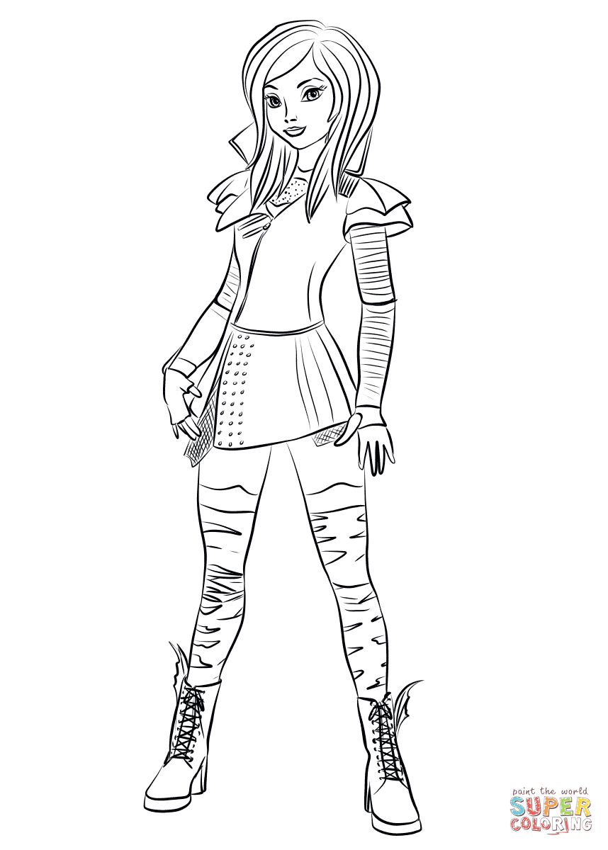 Mal Coloring Pages | Mal From Descendants Coloring Page | Free - Free Printable Descendants Coloring Pages