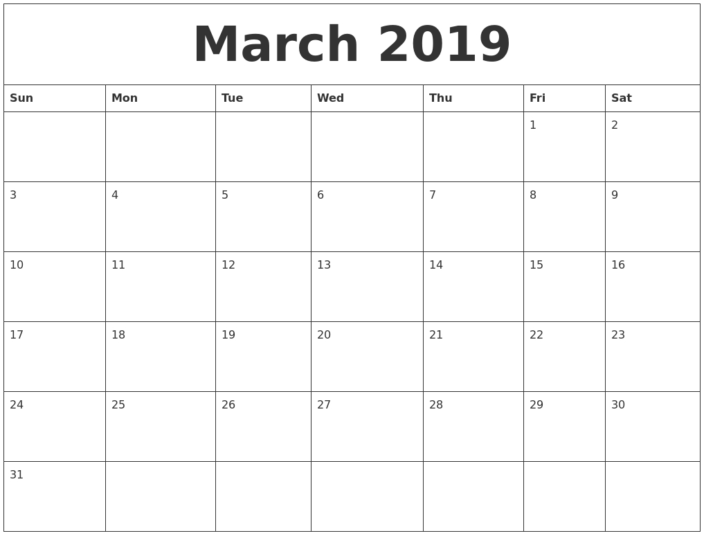 March 2019 Calendar Printable – Free Templates – Printable Calendar 2019 - Free Printable March Activities