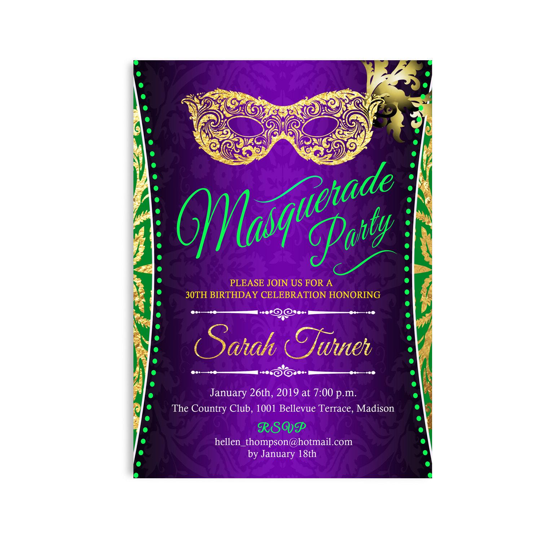 Mardi Gras Invitation. Mardi Gras Birthday Party. Masquerade | Etsy - Free Printable Mardi Gras Invitations