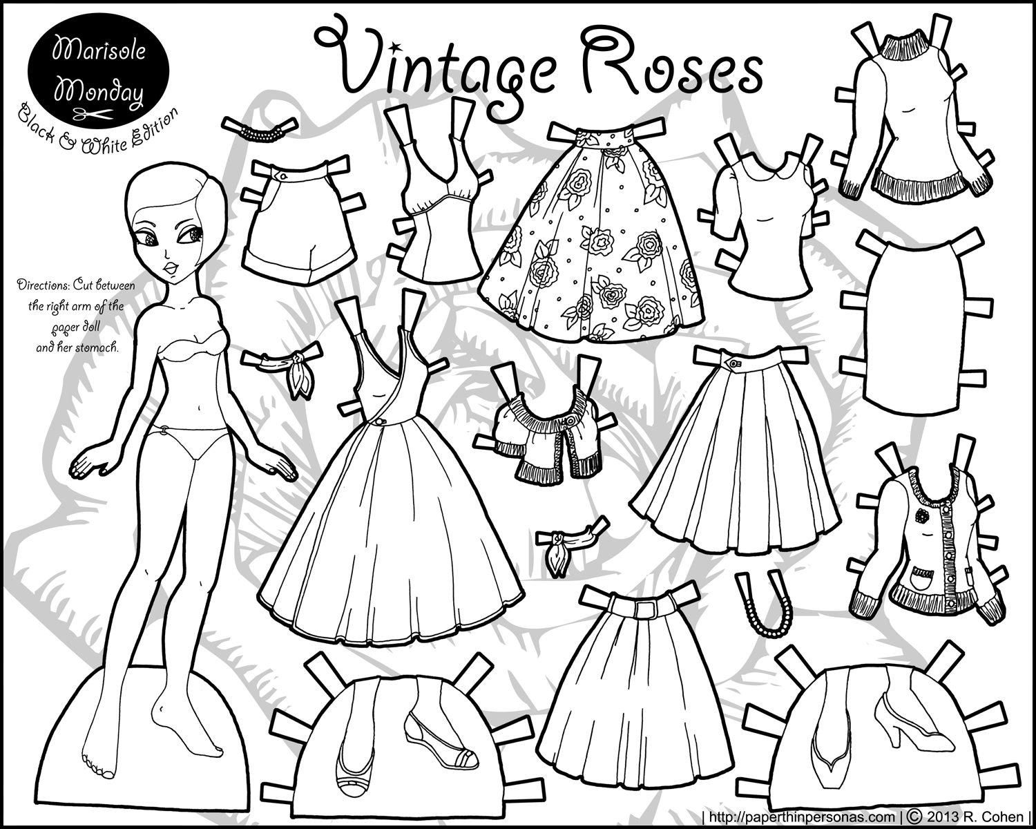 picture about Printable Paper Dolls identify Marisole Monday: Classic Roses Coloring! Paper Dolls