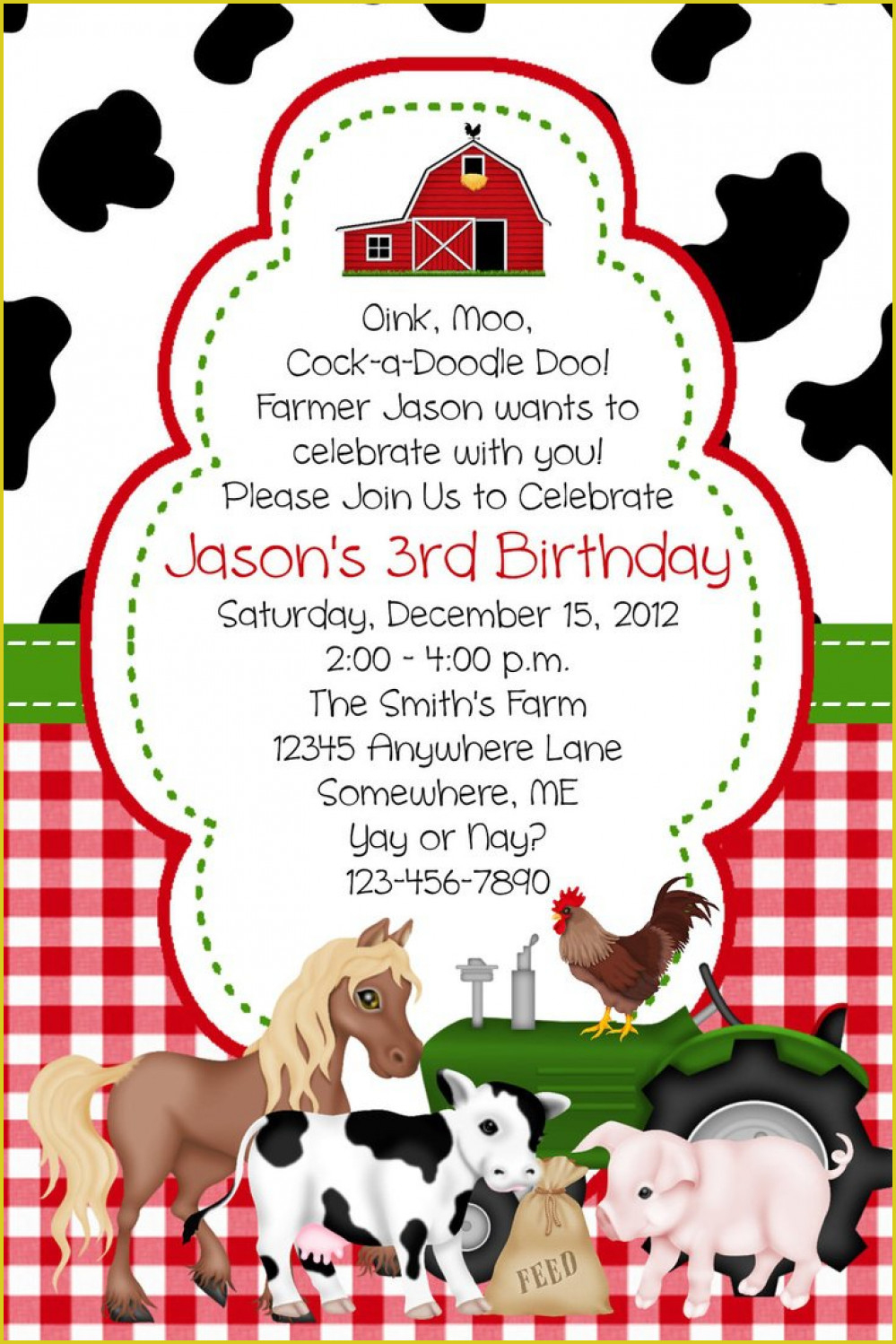 Marvelous Farm Birthday Invitations Which Can Be Used As Free - Free Printable Farm Birthday Invitations