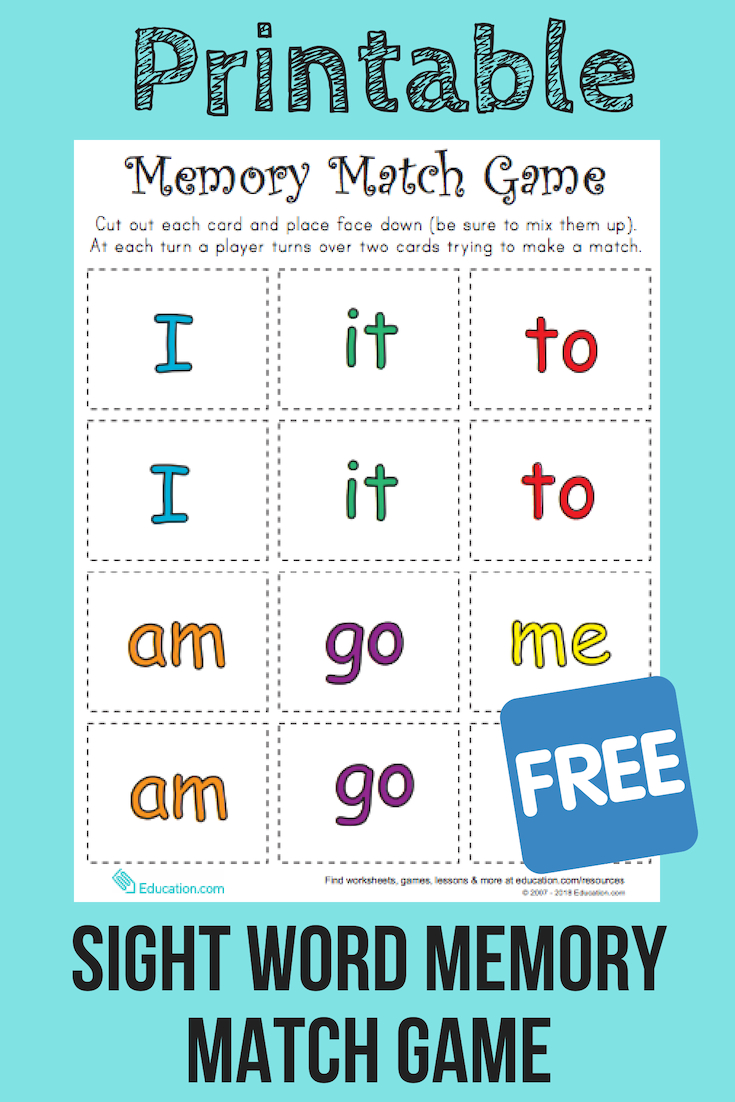 Match Game: Sight Word Memory Match | Reading | Pinterest | Sight - Literacy Posters Free Printable