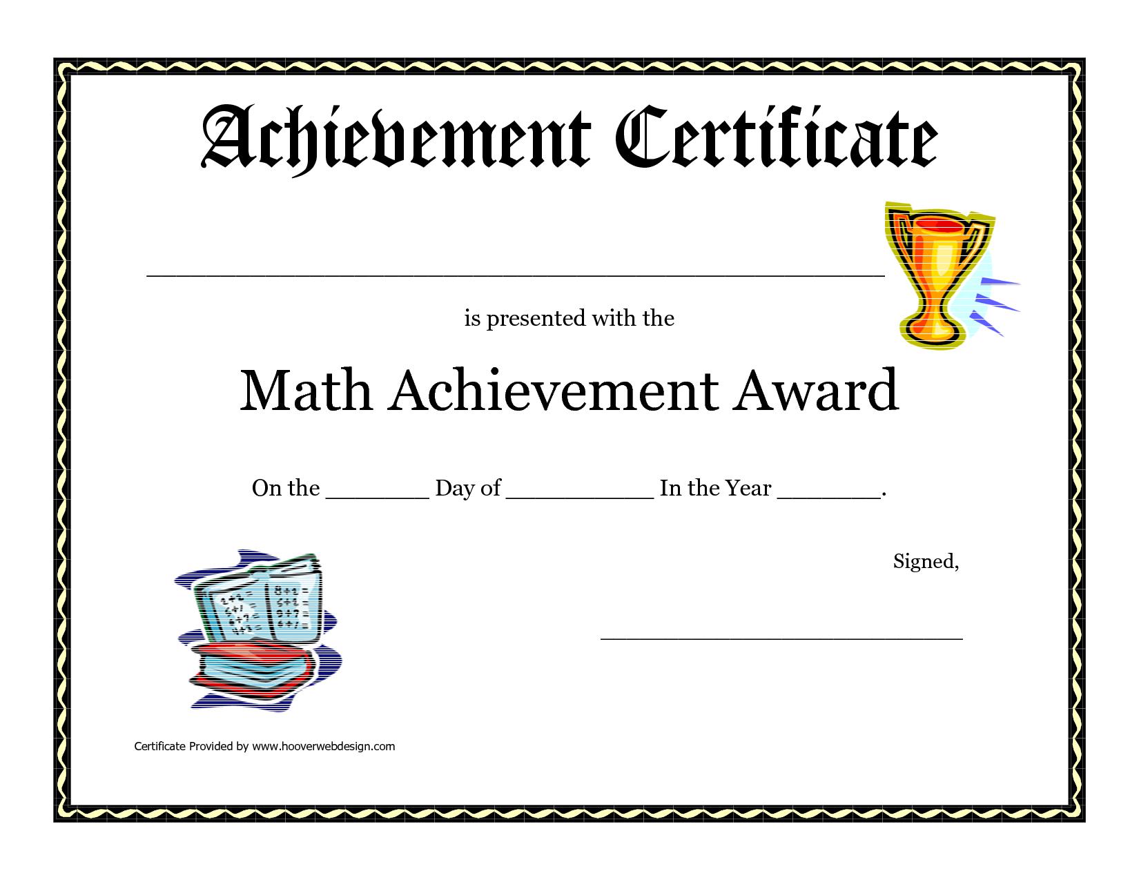 Math Achievement Award Printable Certificate Pdf | Math Activites - Free Printable Student Award Certificate Template