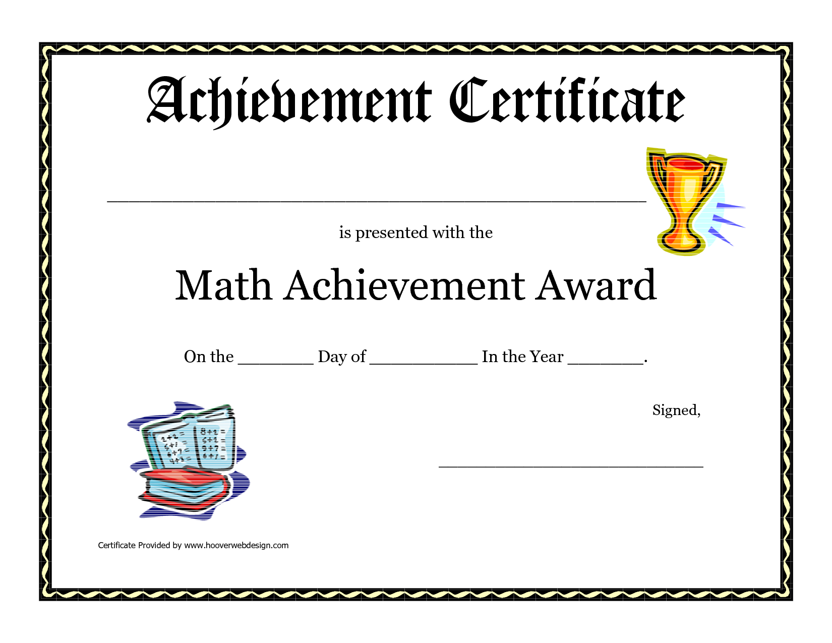 Math Achievement Award Printable Certificate Pdf | Math Activites - Free Printable Swimming Certificates For Kids
