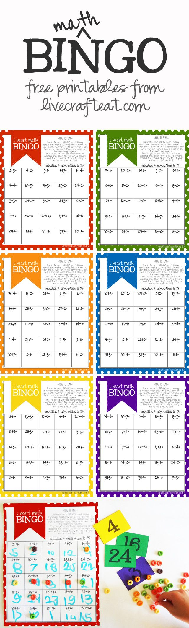 Math Bingo Printable For Kids - Free   Math Activities   Pinterest - Math Bingo Free Printable