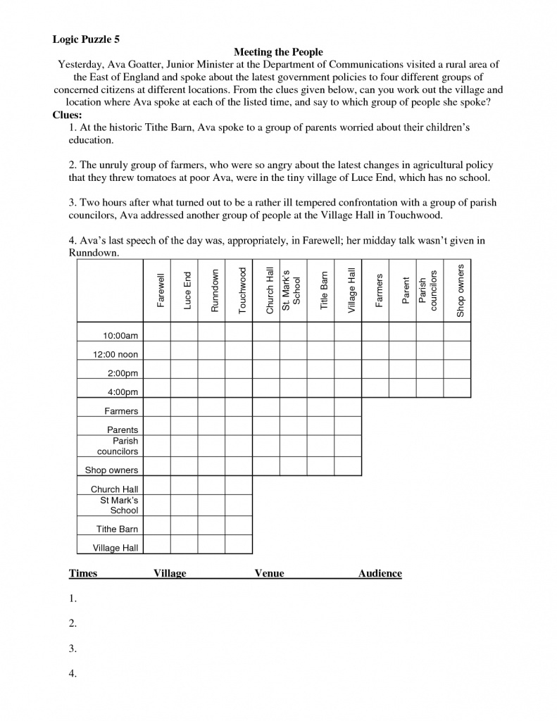 Math Logic Puzzles Worksheets Pdf | Download Them And Try To Solve - Free Printable Logic Puzzles For Middle School