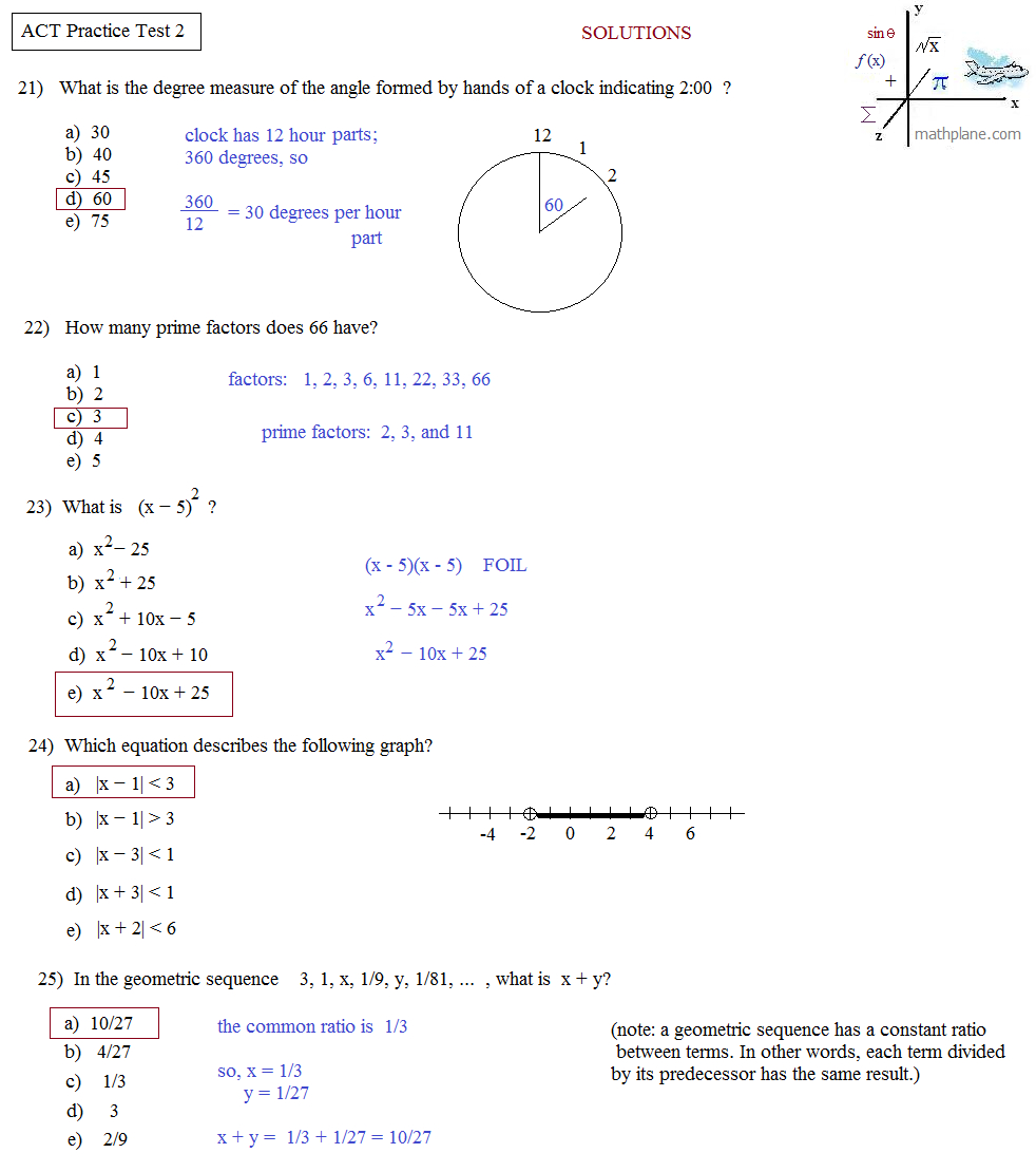 Math Plane - Act Practice Test 2 - Free Printable Act Practice Worksheets