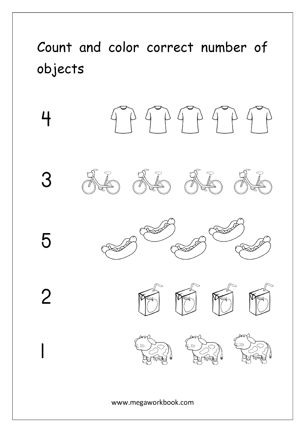 Math Worksheet - Count And Color Correct Number Of Objects (1-5 - Free Printable Counting Worksheets 1 10