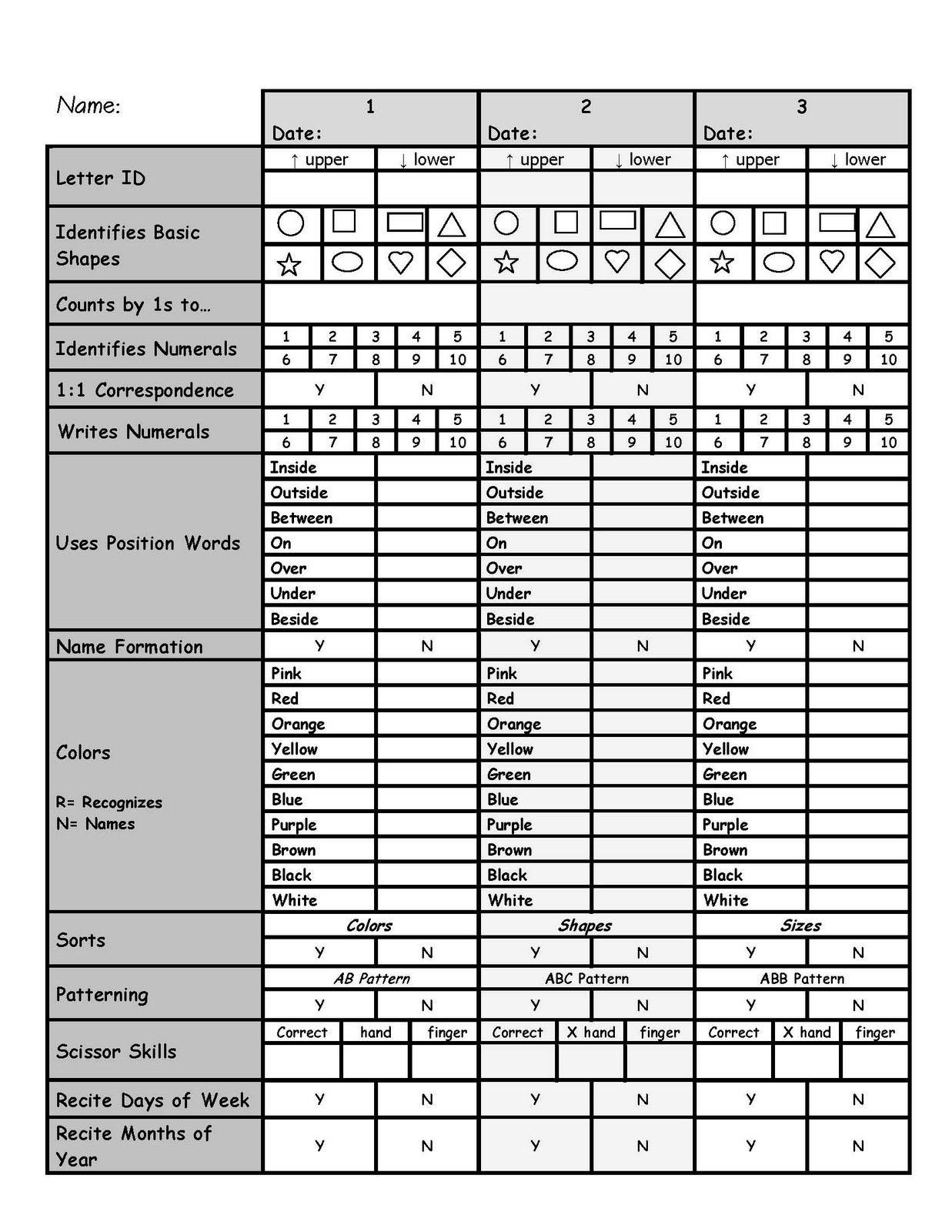 Me & Marie: Preschool Assessments. Great Preschool Assessment Tools - Preschool Assessment Forms Free Printable