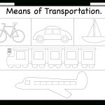 Means Of Transportation – Tracing Worksheet / Free Printable   Free Printable Transportation Worksheets For Kids