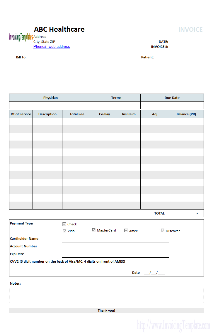 Medical Invoice Template (1) - Free Bill Invoice Template Printable