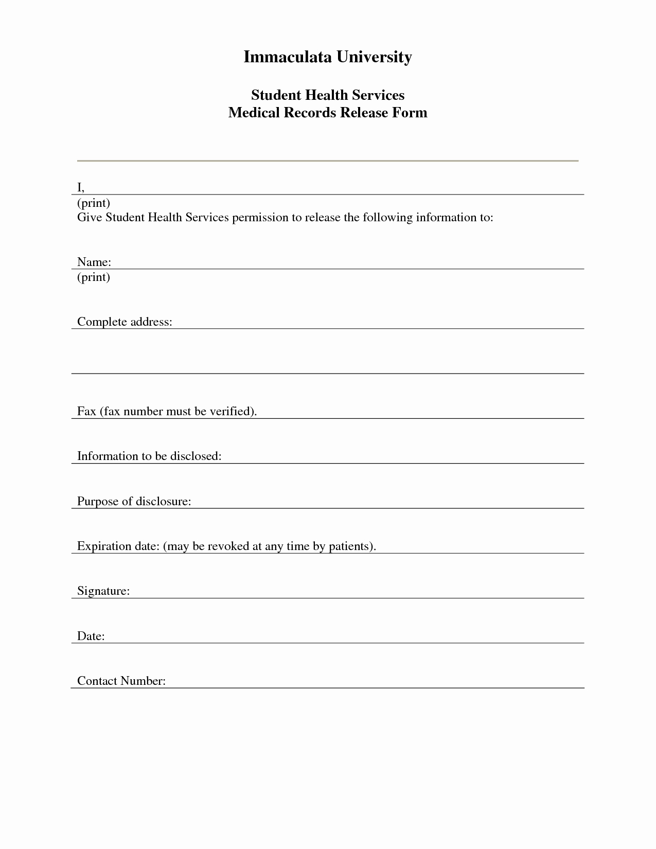 graphic relating to Free Printable Photo Release Form titled No cost Printable Clinical Launch Variety Free of charge Printable Down load