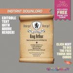 Medieval Knights Scroll Invitation With Free Thank You Card | Etsy   Free Printable Birthday Scrolls