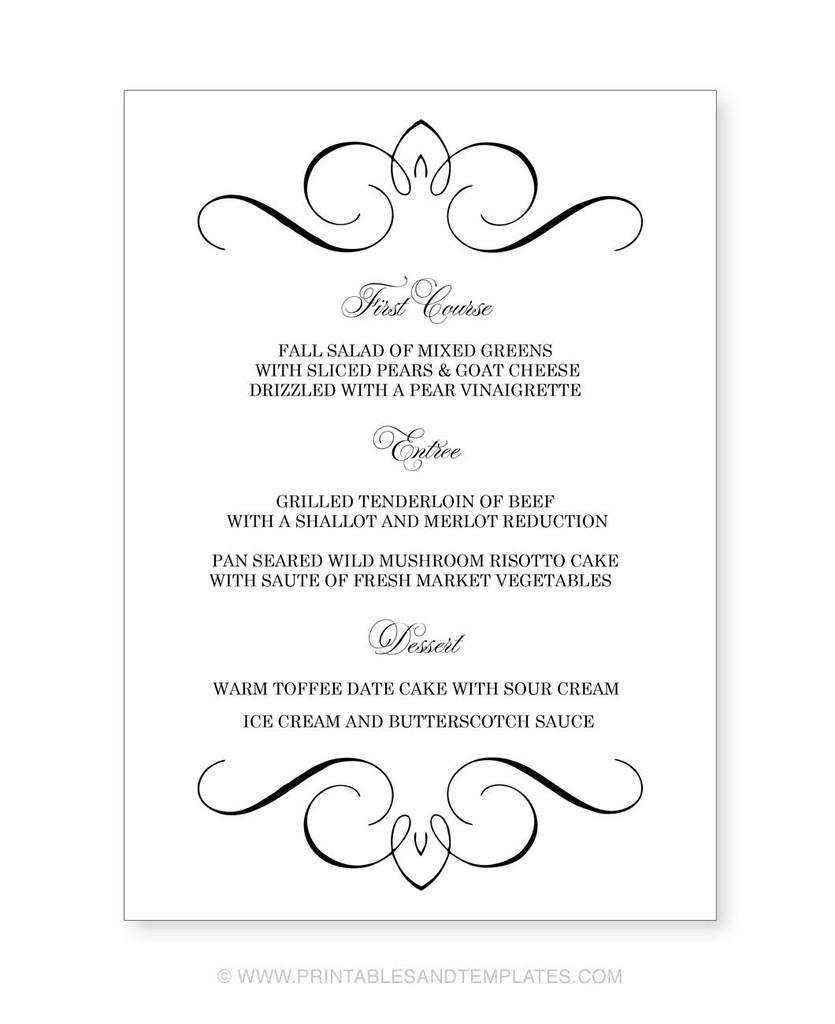 Menu Template Free Printable Printable Wedding Menu Templates Nice - Menu Template Free Printable Word
