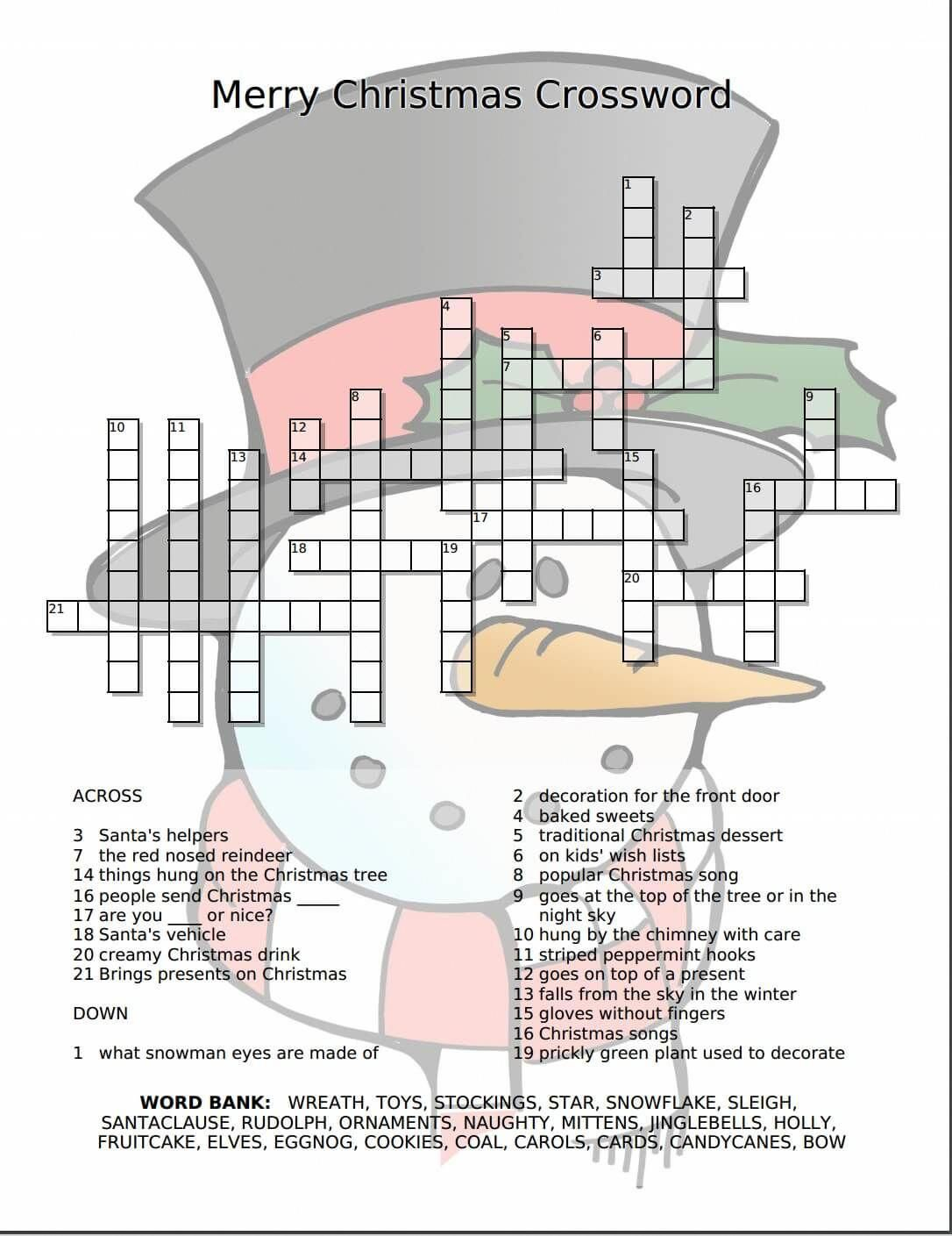 Merry Christmas Crossword Free Printable - | Love Christmastime - Free Printable Christmas Puzzle Sheets