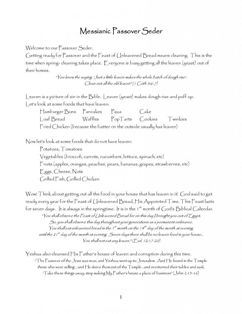 Messianic Passover Seder (Printable Pdf) - Visual Story Bible - Free Printable Messianic Haggadah