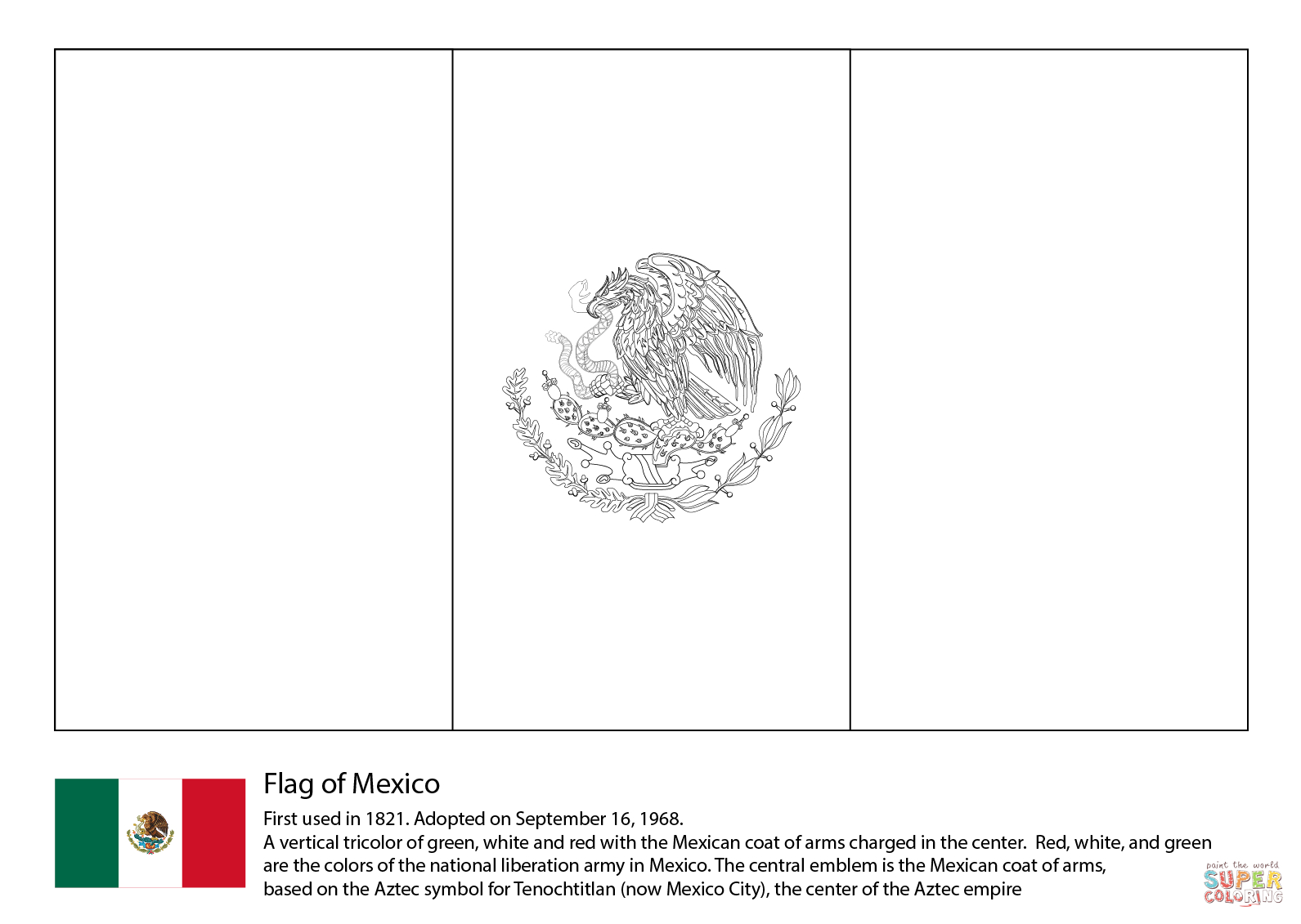 Mexico Flag Coloring Page | Free Printable Coloring Pages - Free Printable Blank Flag Template