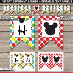 Mickey Mouse Party Banner Template | Birthday Banner | Editable   Free Printable Mickey Mouse Birthday Banner