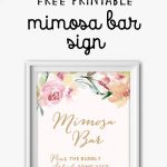Mimosa Bar Free Watercolor Flowers Printable | Bridal Shower Games   Free Printable Mimosa Bar Sign
