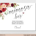 Mimosa Bar Sign Brunch And Bubbly Bar Signage Champagne | Etsy   Free Printable Mimosa Bar Sign