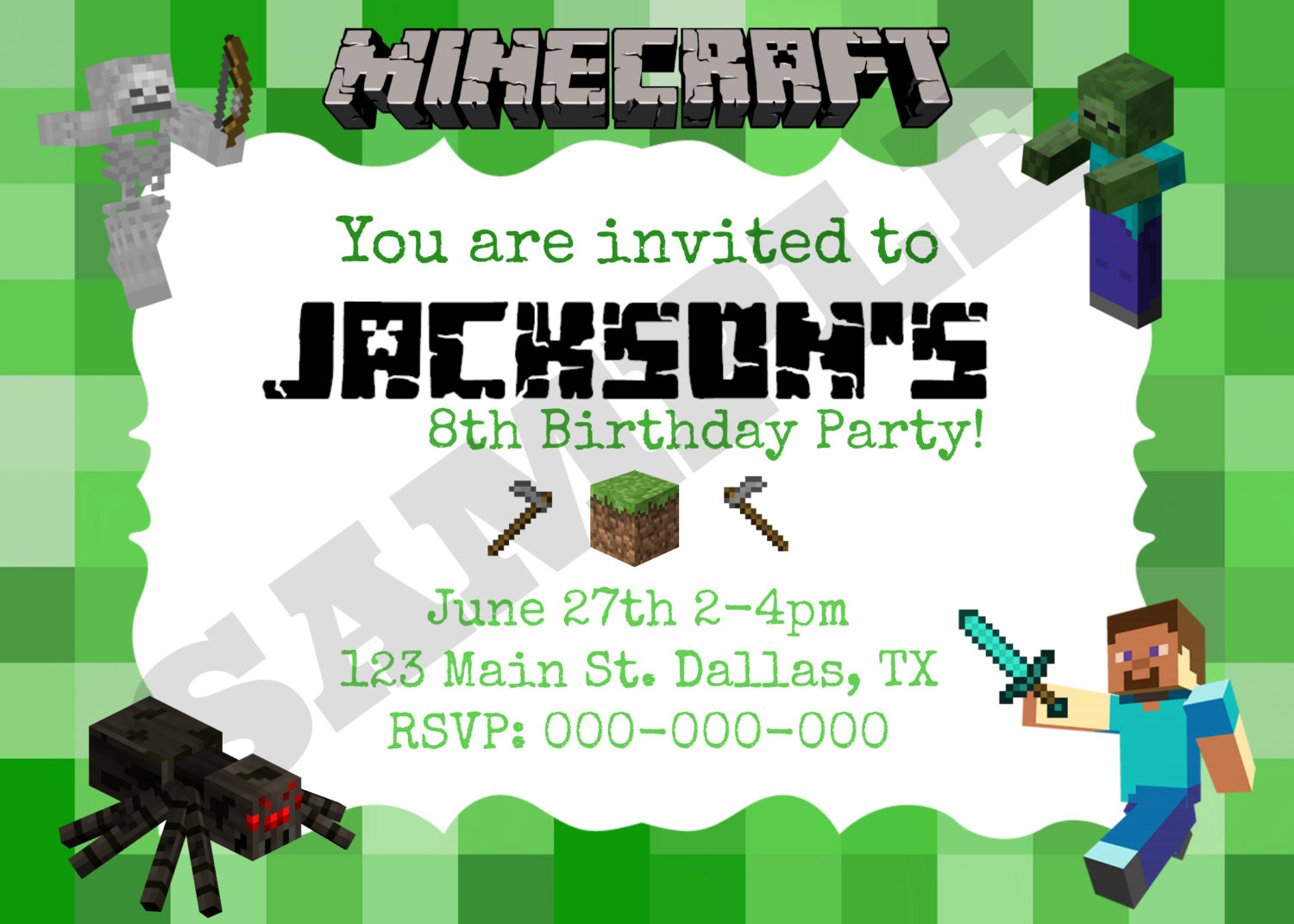 Minecraft Birthday Invitation Template And The Invitations Of The - Free Printable Minecraft Birthday Party Invitations Templates