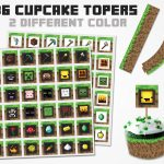 Minecraft Cupcake Topper 2 Color Variations, Minecraft Topper   Free Printable Minecraft Cupcake Toppers And Wrappers