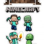 Minecraft: Free Printable Cake Toppers.   Oh My Fiesta! For Geeks   Free Printable Minecraft Cupcake Toppers And Wrappers