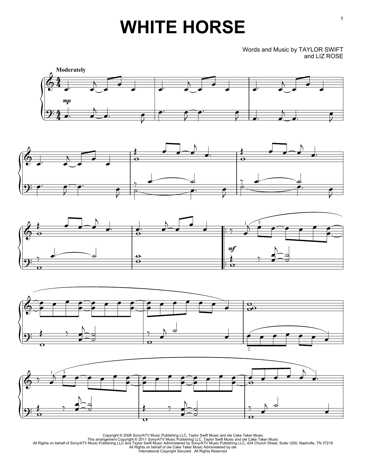 Minetaylor Swift - Hal Leonard - Prima Music - Taylor Swift Mine Piano Sheet Music Free Printable