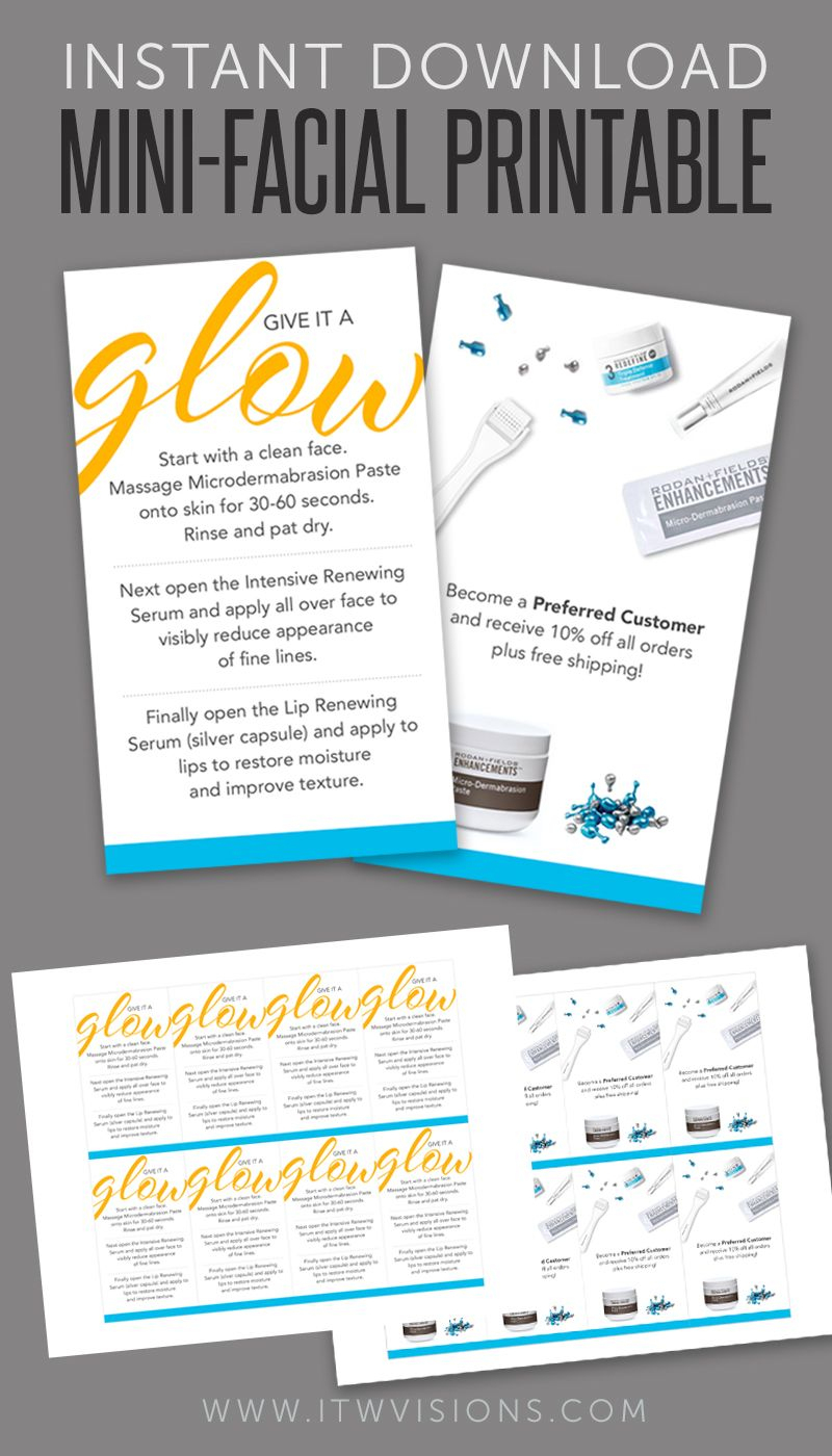 Mini-Facial Card - Glow / Product - Instant Download | Rodan And - Rodan And Fields Mini Facial Instructions Printable Free