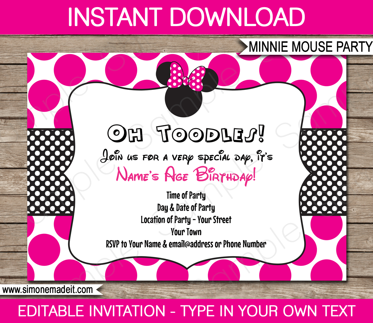 Minnie Mouse Party Invitations Template | Birthday Party - Free Printable Minnie Mouse Invitations